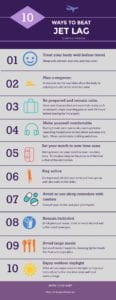 10 Ways to Beat Jet Lag During Travel Infographic