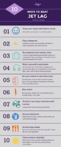 tips to beat jet lag infographic