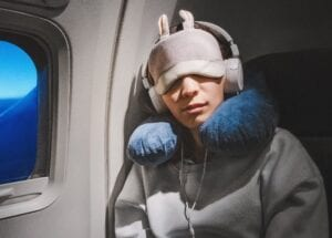 Noise-Cancelling Headphones Eye Mask Pillow for Sleep During Flight Travel to Prevent Jetlag - Simply Good Sleep
