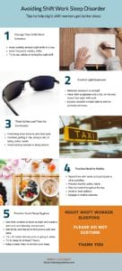 Tips to help night shift workers get better sleep infographic