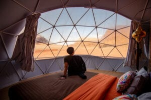 Bubble Tent with a View of Wadi Rum Desert in Jordan