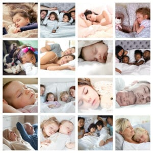 Collage of photos of people sleeping