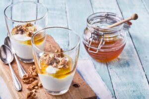 Greek Yogurt with Honey and Walnuts Bedtime Snack for Better Sleep