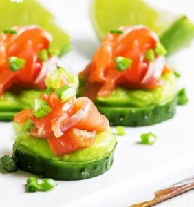 Smoked Salmon, Avocado, and Cucumber Bites Bedtime Snack for Better Sleep
