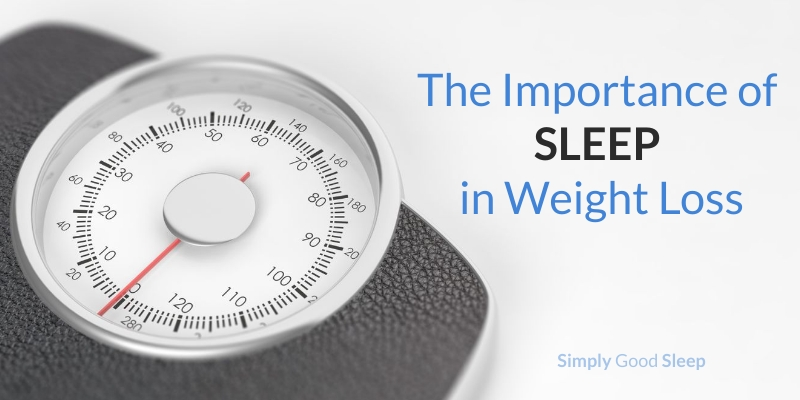 Body weight scale with the caption 'The Importance of Sleep in Weight Loss - Simply Good Sleep'